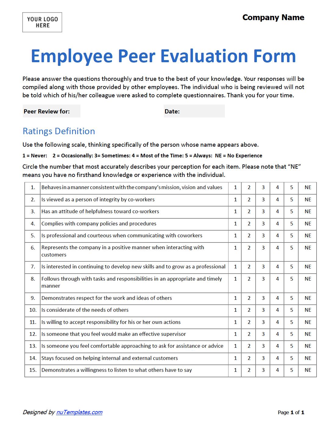 employee peer evaluation form  peer evaluation template