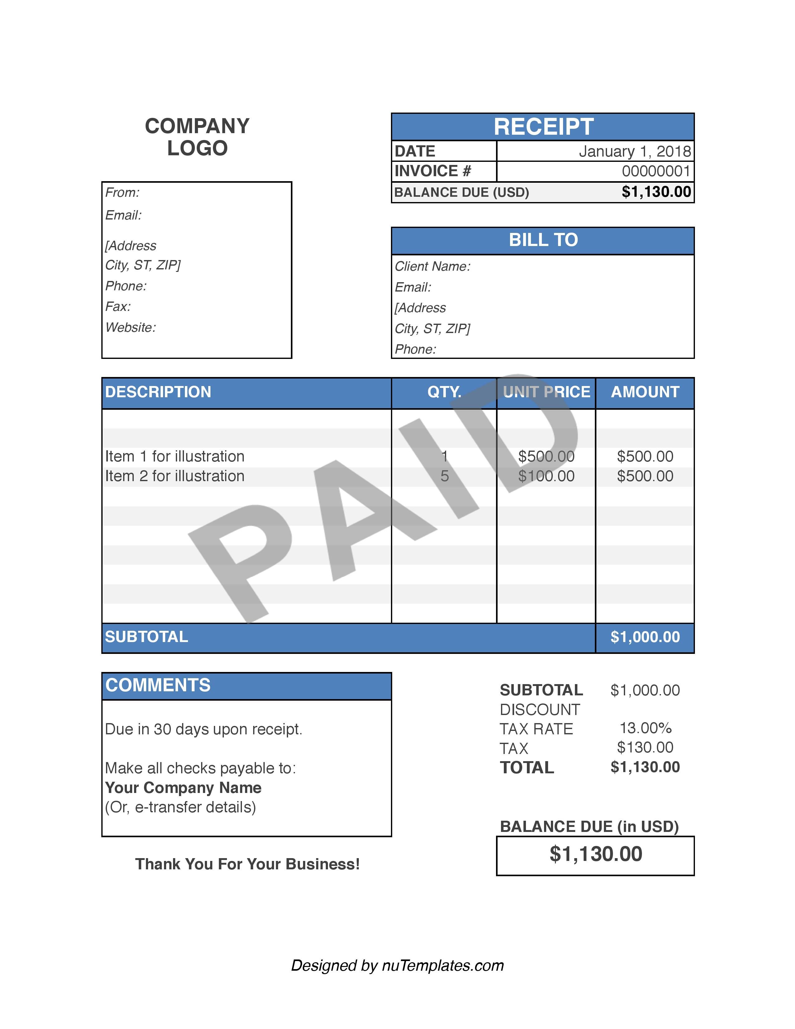 Purchase Receipt Template - Purchase Receipts | nuTemplates