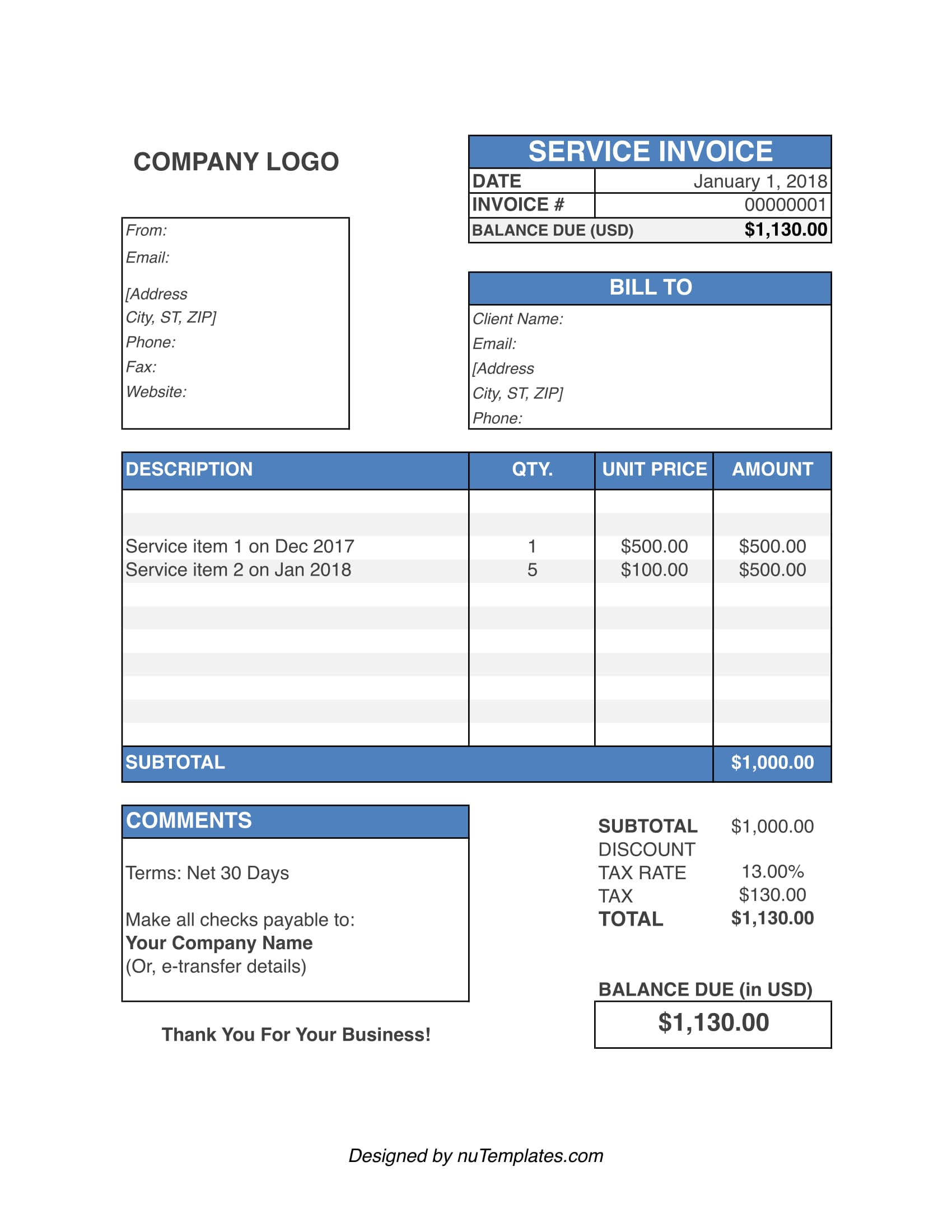 service invoice template service invoices nutemplates
