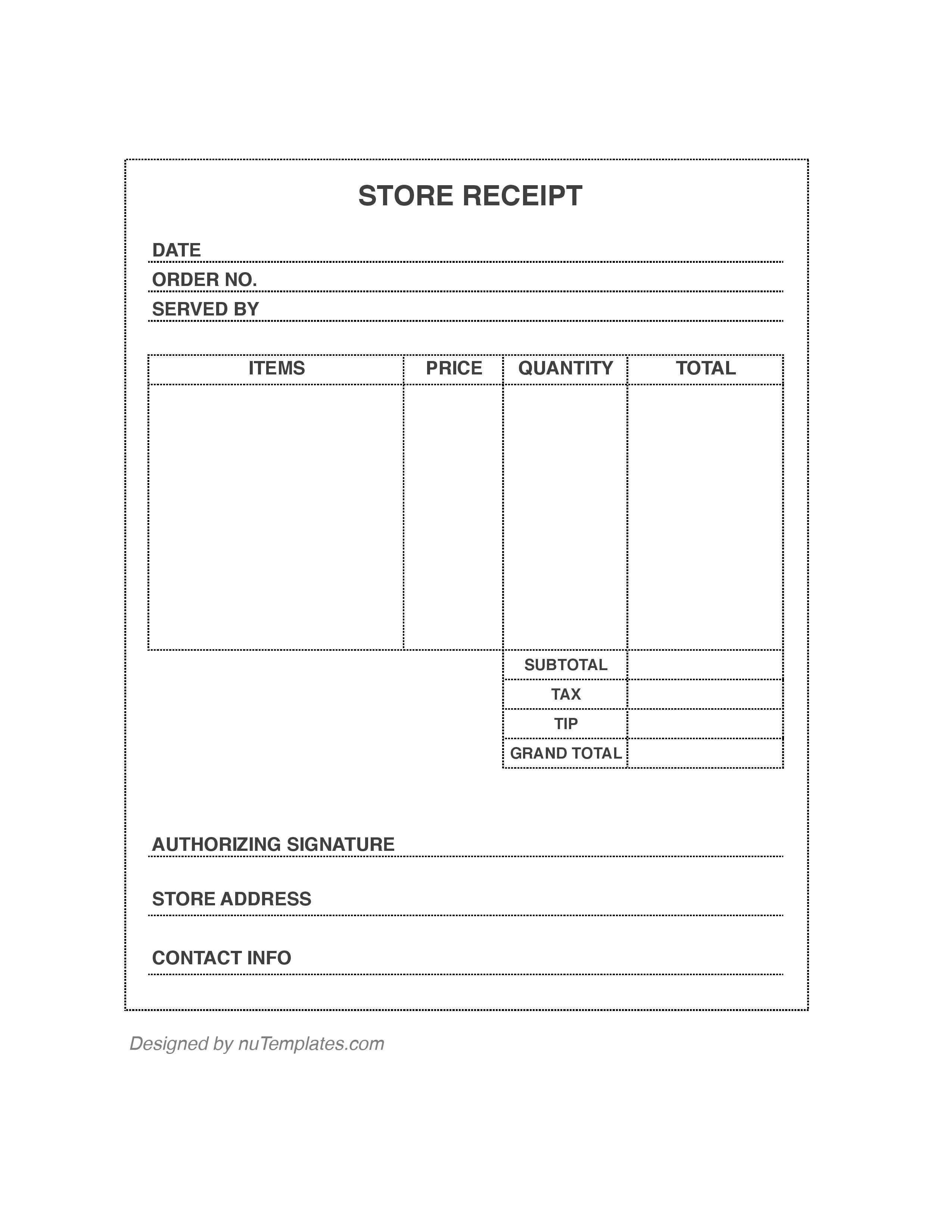 store receipt template