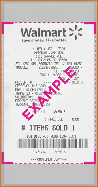 walmart receipt template